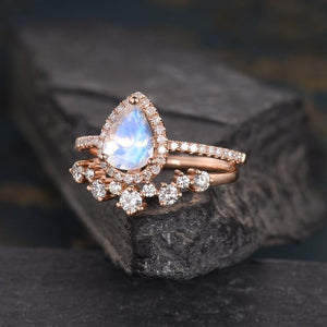 Pear Shaped 6x8mm Moonstone Cluster Diamond Bridal Set