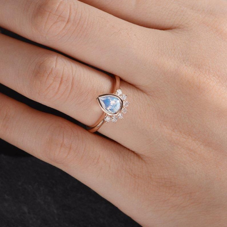 Bezel Set Pear Shape Moonstone Engagement Ring Half Halo Bezel Set