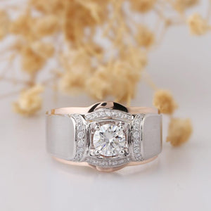 Round 1ct Moissanite Estate Ring, Two Tone Gold Grand Men's Band