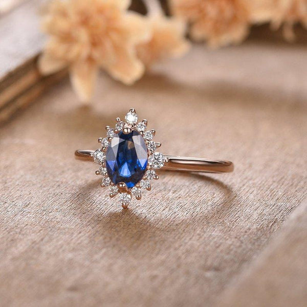 Oval Cut 5x7mm Moissanite Floral Halo Lab Created Blue Sapphire Wedding Ring
