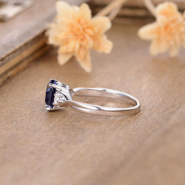 6mm Hexagon Cut Lab Sapphire Accent Engagement Ring