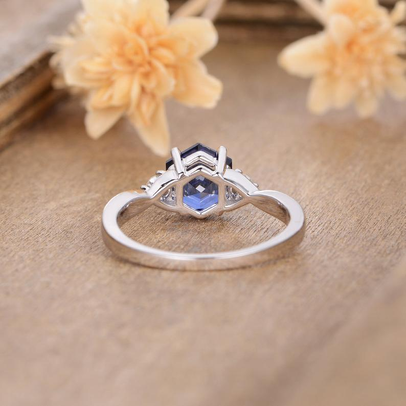 1.1CT Hexagon Cut Lab Sapphire Accent Engagement Ring, Solid 14k Gold Ring