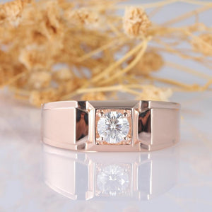 Round Cut 0.6CT Moissanite Classic Solitaire Men's Wedding Band