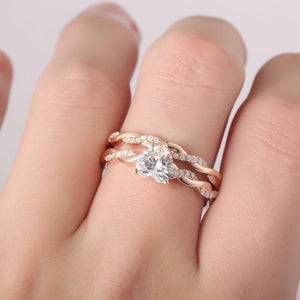Heart Shape 1CT Center Moissanite Bridal Set Rope Style Ring