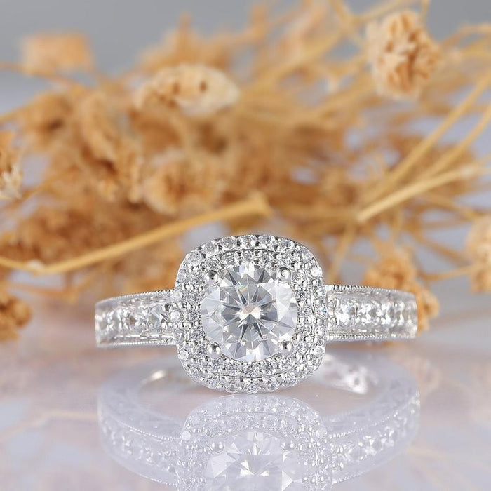 Round Cut 1ct Moissanite Vintage Double Halo Accents Engagement Ring