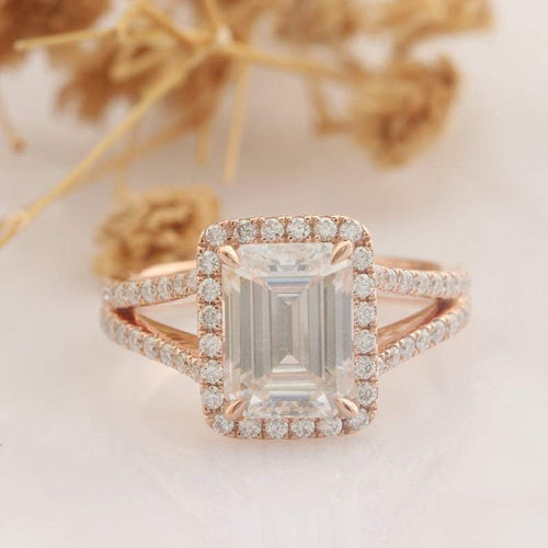 Emerald Cut 2CT Moissanite Engagement Ring Halo Split Shanks Accents Ring