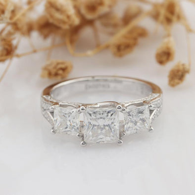 Princess Cut 1.5CT Moissanite Ring, Square 3 Stone Halo Accents Ring
