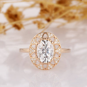 Floral Moissanite Ring, Oval Cut 1.5 CT Moissanite Ring, Vintage Halo Art Deco Ring