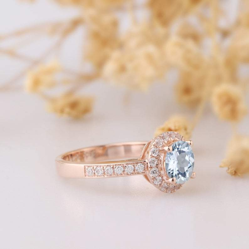 Round Cut 0.8ct Aquamarine 14k Rose Gold Halo Engagement Ring