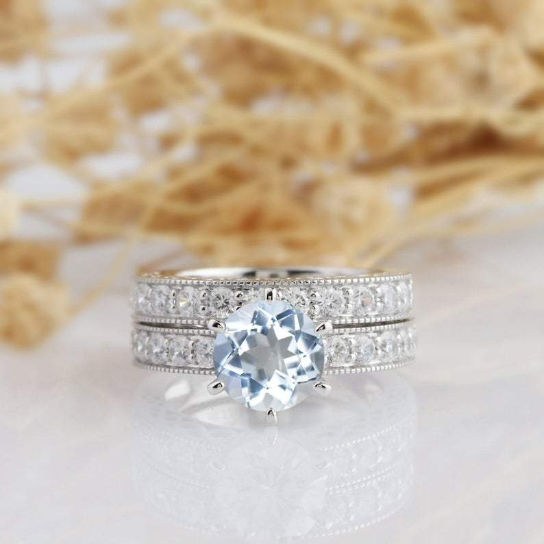 Round Cut 2ct Aquamarine Bridal Set, 14k White Gold Engagement Wedding Set