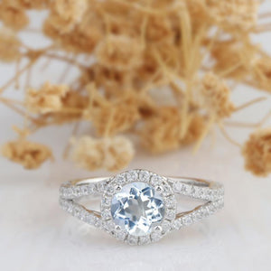 Round Cut 1CT Aquamarine Ring, 14k White Gold Wedding Engagement Ring