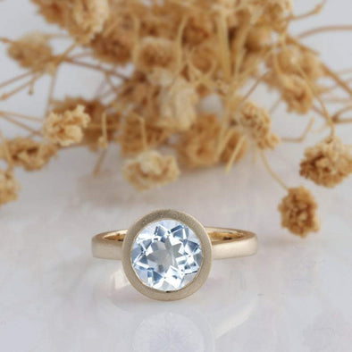 Round Cut 1.5CT Aquamarine ,14k Rose Gold Wedding Engagement Ring