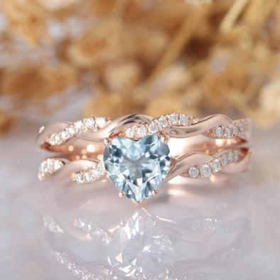Heart Shape 1ct CenterAquamarine Bridal Set,14k White Gold Engagement Ring