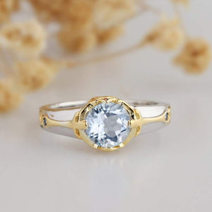1.0CT Round Cut Aquamarine Wedding Ring, 14k White Gold Gemstone Ring