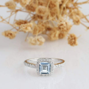 Asscher Cut 5mm 0.8 CT Aquamarine Ring, 14k White Gold Ring