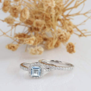 Aquamarine Ring 0.8 CT Aquamarine Ring, 14k White Gold Ring, Promise Ring