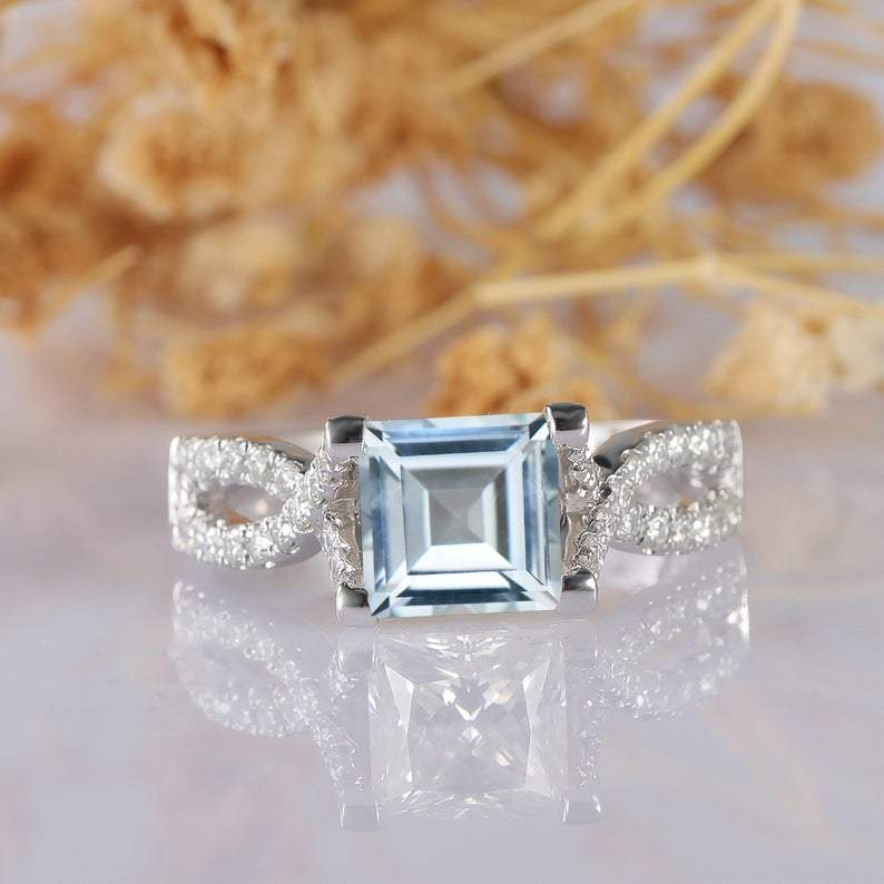 Princess Cut 6.5mm Aquamarine 14k White Gold Accents Engagement Ring