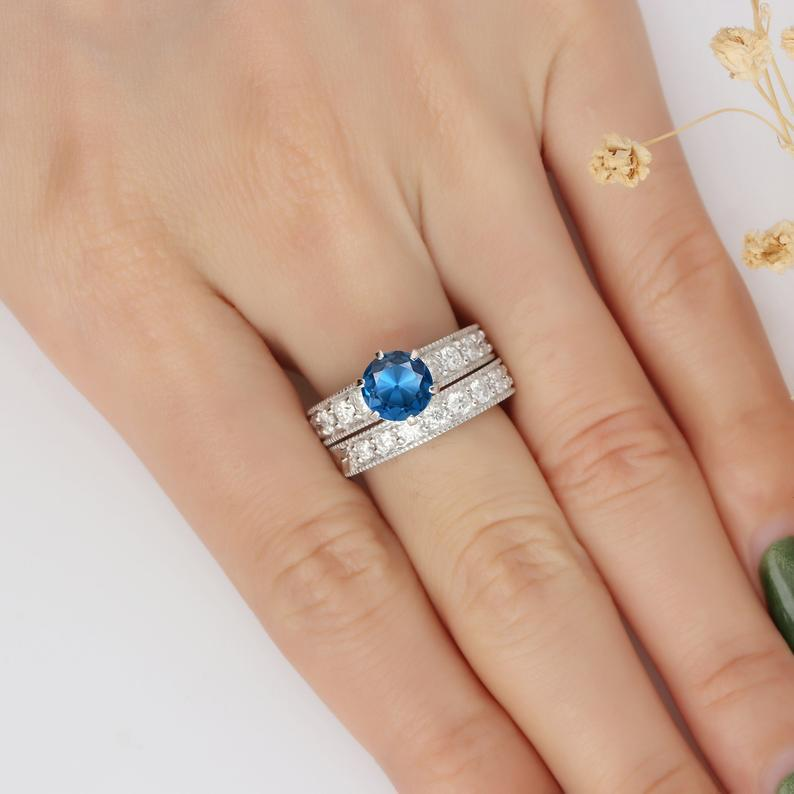Round Cut 1.5ct London Topaz Vintage Filigree Ring, 14k White Gold Ring Set