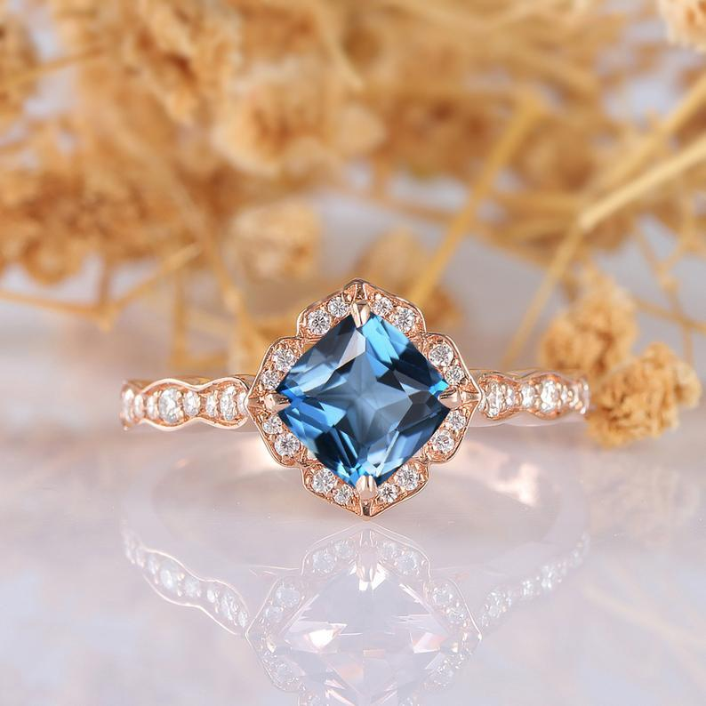 Cushion Cut 6.5mm London Blue Topaz 1.3CT Gemstone Engagement Ring