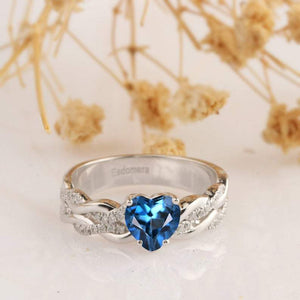 Heart Shape 1CT London Blue Topaz Engagement Ring, 14k White Gold Ring