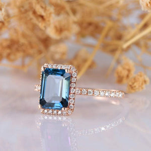 2.0CT Emerald Cut London Blue Topaz Engagement Ring,  14k Rose Gold Ring