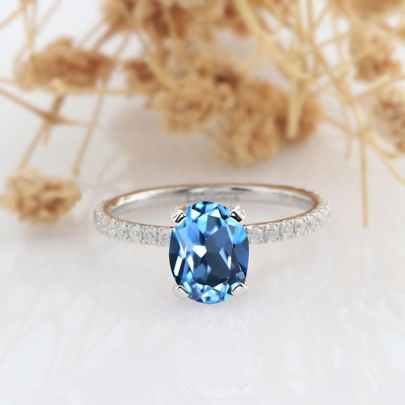 Oval Cut 1.5 CT Topaz 14k Rose Gold 4 Prong Engagement Ring