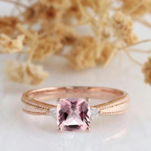Cushion Cut 6mm Morganite Wedding Ring,  14k Rose Gold Art Deco Engagement Ring