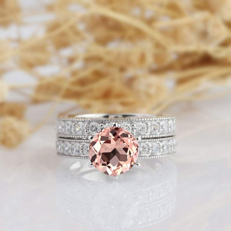 Round Cut 2ct Morganite Bridal Set,14k White Gold Engagement Wedding Set