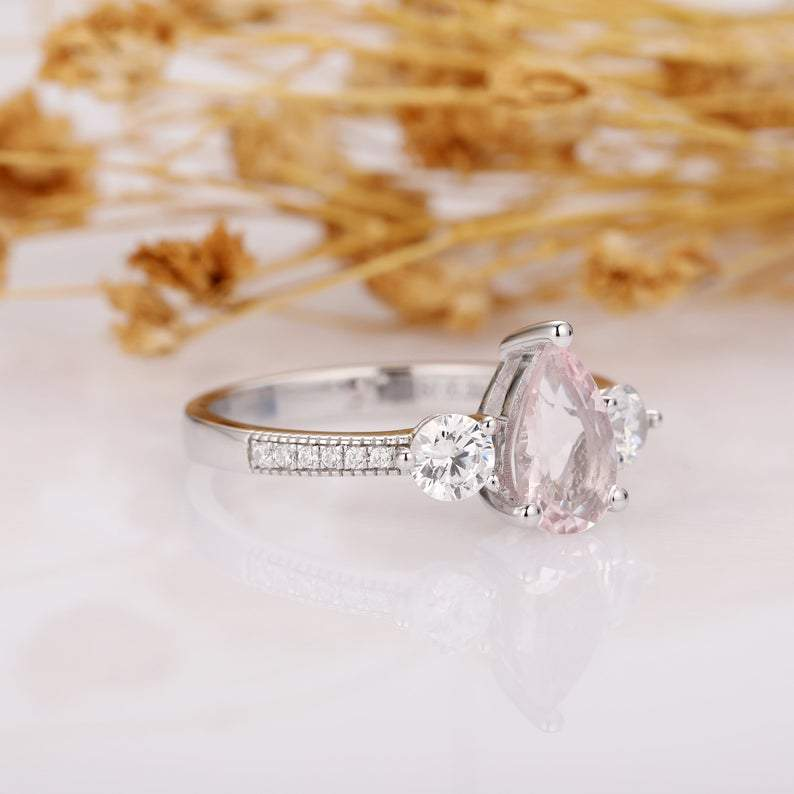 Pear Cut 6x9mm Morganite Wedding Ring, 14k White Gold Art Deco Engagement Ring