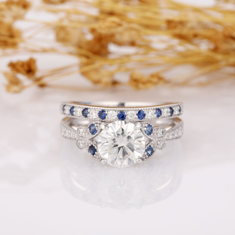 Round 2ct Moissanite Ring, Vintage Filigree Blue Sapphire Moissanite Alternating Side Stones 14k White Gold