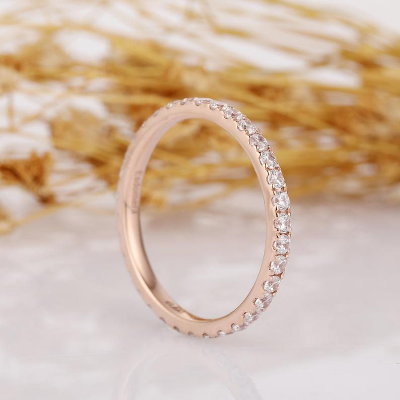 Full Eternity Moissanite Wedding Band, 14k Rose Gold Wedding Ring