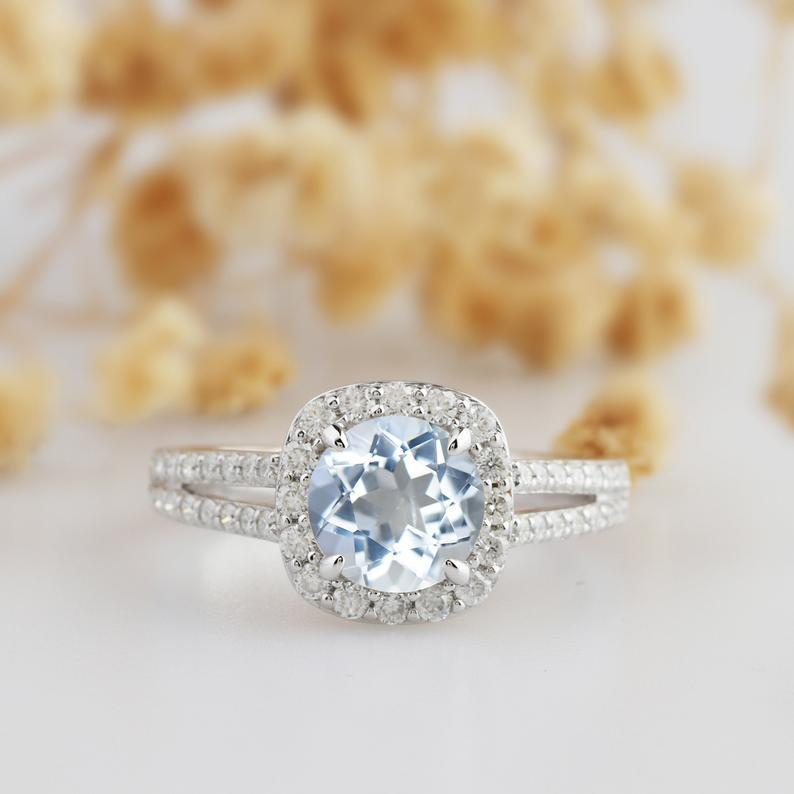 Round Cut 2CT Aquamarine,14k White Gold Wedding Engagement Ring