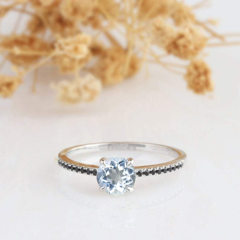 Aquamarine Ring 1.25 CT Aquamarine Ring, 14k White Gold Engagement Ring