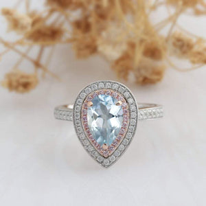 Pear Cut 6x9mm Aquamarine Ring,14k Two Tone Gold Engagement Ring