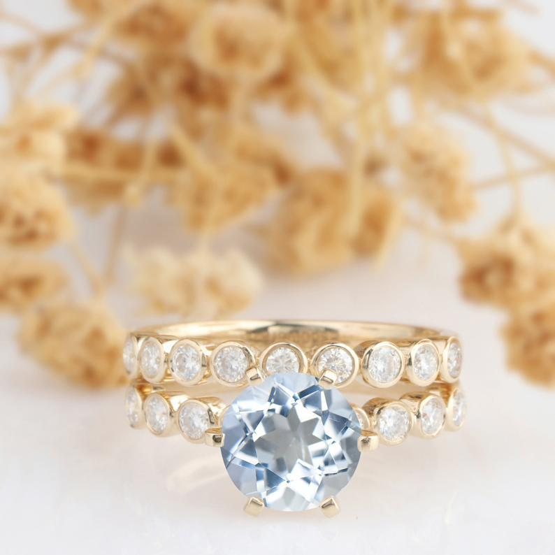 Round Cut 2 CT Aquamarine Ring, 14k Yellow Gold Wedding Bridal Set