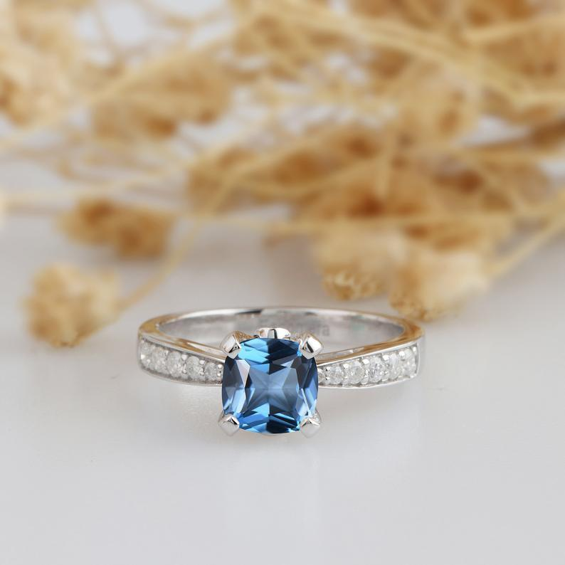 Cushion Cut 1.1CT London Topaz 14k White Gold Engagement Ring