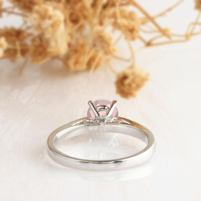 Round 1ct Morganite Ring, 4 Prong Set Royal Crown Design Morganite Engagement Ring