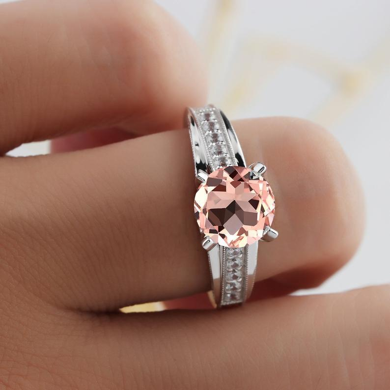 Cross Band 2.5ct Morganite 14k White Gold Wedding Engagement Ring