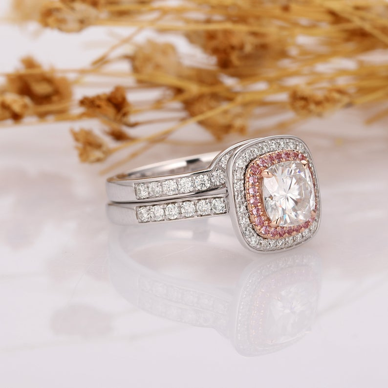 Cushion Cut 1.3ct Moissanites Double Halo Pink Sapphire Accents, 14k Two Tone Gold