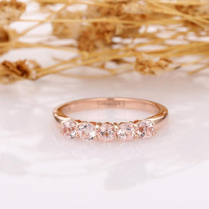Morganite Band, Classic 0.5ctw Round Morganite 5 Stone Wedding Band