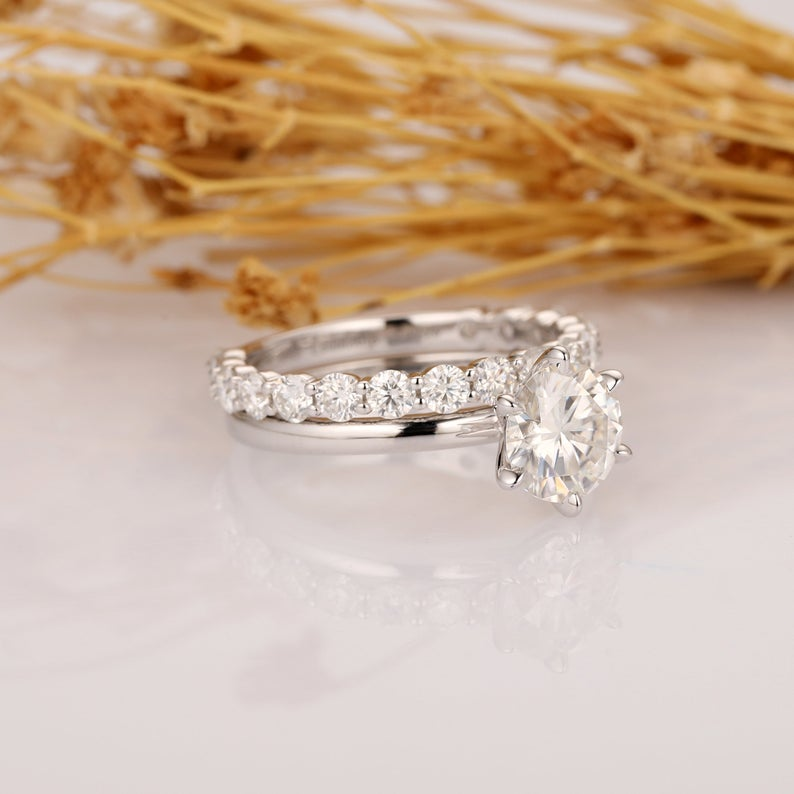 Round Cut 1.25CT Moissanite Wedding Ring, 3/4 Eternity Band, 14K Solid Gold