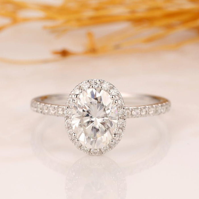 Oval Cut 1.5ct Moissanite Wedding Ring, Art Deco Halo Engagement Ring