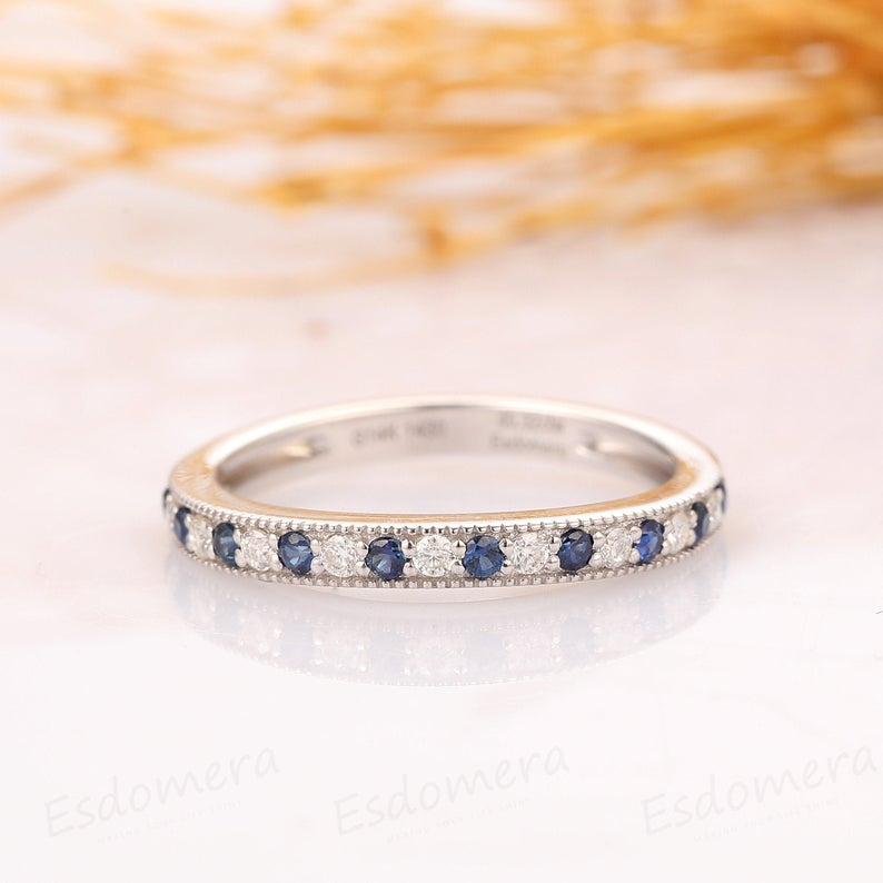 Blue Sapphire Ring, Curved Moissanite Wedding Band, 14k Solid White Gold Ring