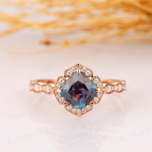 Cushion Cut 1.3CT Alexandrite Wedding Ring, 14k Solid Rose Gold Promise Ring