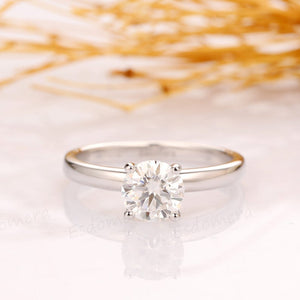 Sterling Silver -  Round Cut 6.5mm Solitaire Moissanite Engagement Ring