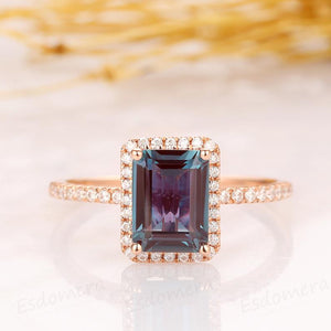 Emerald Cut 6x8mm Alexandrite Engagement Ring, 14k Solid Rose Gold Ring