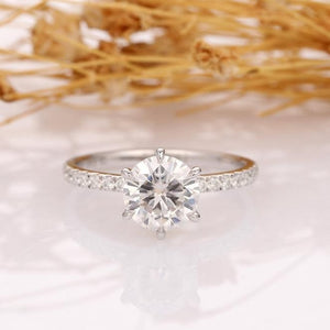 Round 1.5ct Moissanite Ring, 3/4 Eternity Pave Accent 6 Prongs Promise Ring
