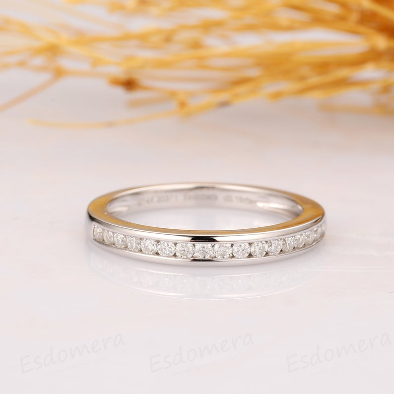 Pave Setting Band, 14k White Gold Matching Ring, Half Eternity Ring