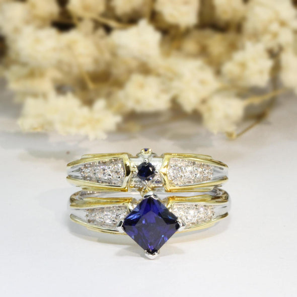 Video Game Two Tone Triforce Princess Cut 6mm Blue Sapphire Gemstone Simulant 925 Sterling Silver Wedding Bridal Set (CFR0545WS-S925)