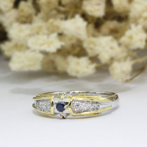 Two Tone Color Ring, Blue Sapphire Gemstone Sterling Silver Wedding Band